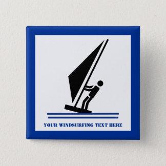 Windsurfer on board black, blue windsurfing 15 cm square badge