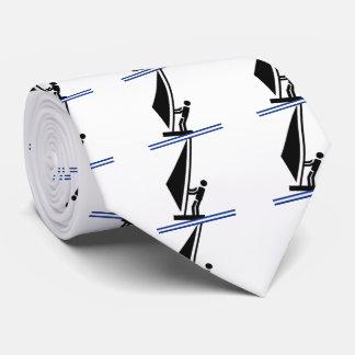 Windsurfer on board black, blue windsurfing tie