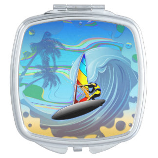 WindSurfer on Ocean Waves Compact Mirror