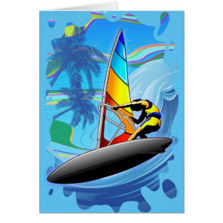 WindSurfer on Ocean Waves Greeting Card