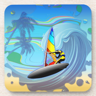 WindSurfer on Ocean Waves - set of 6 Cork Coasters