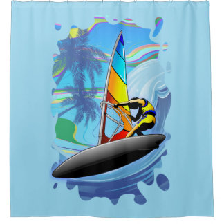 WindSurfer on Ocean Waves Shower Curtain