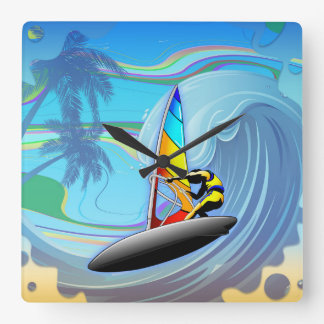 WindSurfer on Ocean Waves Wall Clock