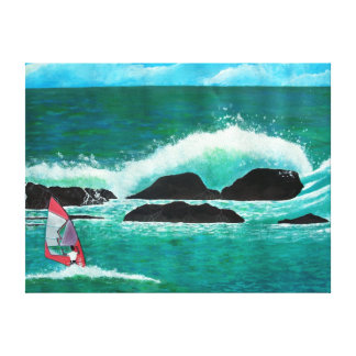 WindSurfer Wind Surfing in Hawaii Seascape  Wrappe Canvas Print