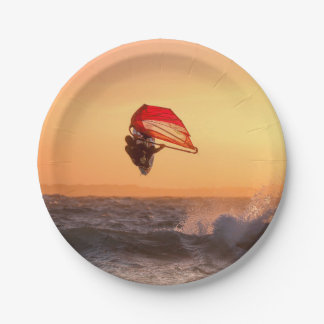 Windsurfing At Sunset Surfer Beach Party Paper Plate