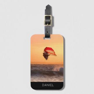 Windsurfing At Sunset Surfer Personalised Custom Luggage Tag