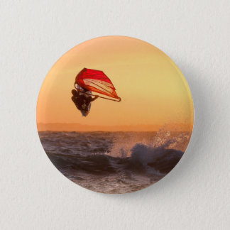 Windsurfing At Sunset Surfer Sailboarding 6 Cm Round Badge