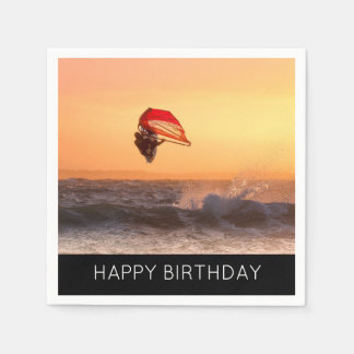 Windsurfing At Sunset Surfer Sailboarding Party Disposable Serviettes