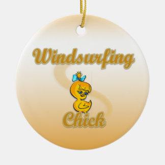 Windsurfing Chick Ceramic Ornament