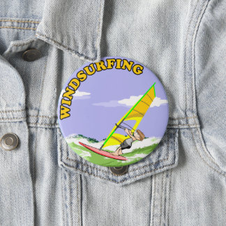 Windsurfing enchants to me 10 cm round badge