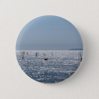Windsurfing in the sea . Windsurfers silhouettes 6 Cm Round Badge