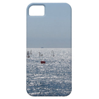 Windsurfing in the sea . Windsurfers silhouettes Barely There iPhone 5 Case
