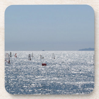Windsurfing in the sea . Windsurfers silhouettes Coaster