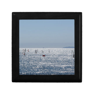 Windsurfing in the sea . Windsurfers silhouettes Gift Box