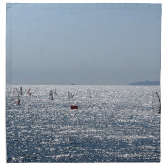 Windsurfing in the sea . Windsurfers silhouettes Napkin