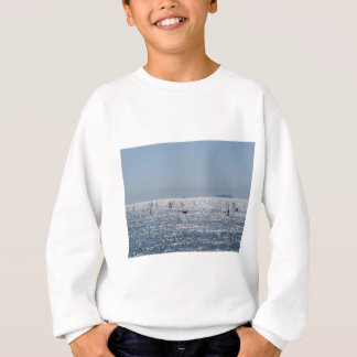Windsurfing in the sea . Windsurfers silhouettes Sweatshirt