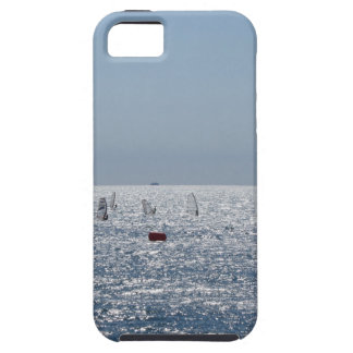 Windsurfing in the sea . Windsurfers silhouettes Tough iPhone 5 Case