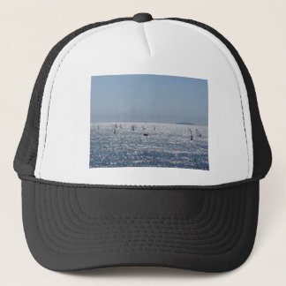 Windsurfing in the sea . Windsurfers silhouettes Trucker Hat