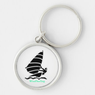 WindSurfing Silver-Colored Round Key Ring