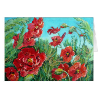 Windswept red poppies card