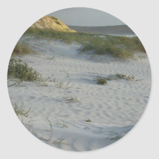 Windswept Sandy Beach Classic Round Sticker