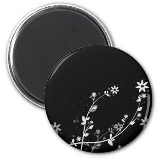 Windy Flowers digital floral designs 6 Cm Round Magnet