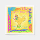 Wine a Little Chick Power Custom Yellow Paper Napkin