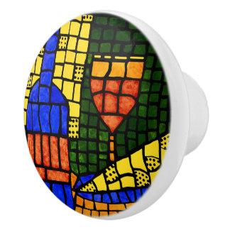 Wine And Cheese Bright Colors Ceramic Knob