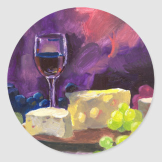 Wine and Cheese Classic Round Sticker