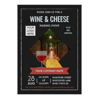 Wine And Cheese Pairing Event add photo and logo Poster