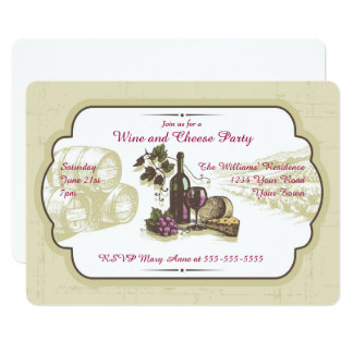 Wine and Cheese Party Card
