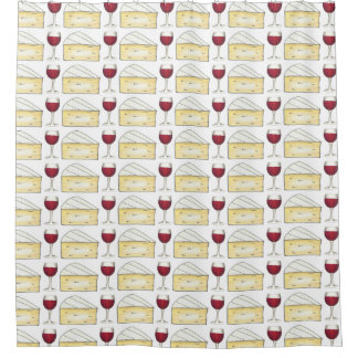 Wine and Cheese Red Wine + Brie Shower Curtain
