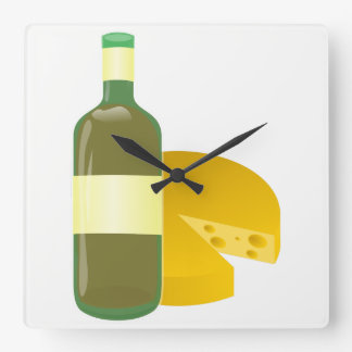 Wine and Cheese Square Wall Clock