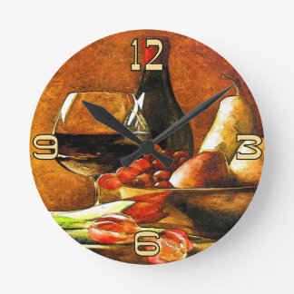 Wine and Fruit Round Clock