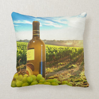 Wine and Grapes in a Tuscan Vineyard Cushion