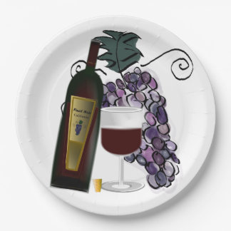 Wine and Grapes Paper Plate
