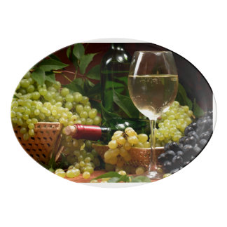 Wine and grapes porcelain serving platter