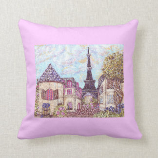 Wine And Grapes With Paris Inspired Cityscape And  Cushion