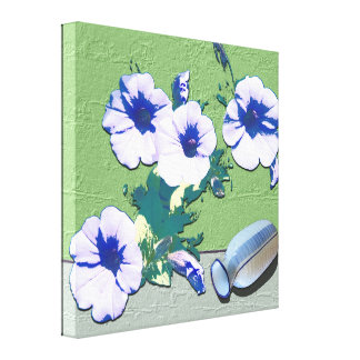 Wine and Petunia Flowers Canvas Print