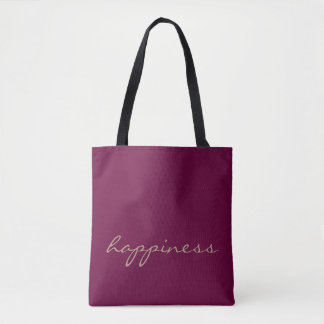 Wine and Taupe Custom Text Happiness Tote Bag