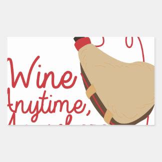 Wine Anytime Rectangular Sticker