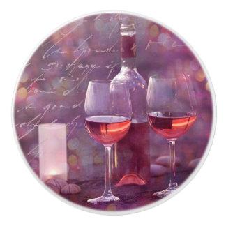 Wine at the beach ceramic knob