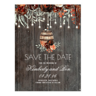 Wine Barrel and Burgundy Rustic Save the Date Postcard