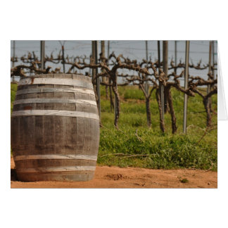 Wine Barrel and Vineyard in the Spring Card