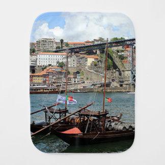 Wine barrel boats, Porto, Portugal Burp Cloth