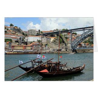 Wine barrel boats, Porto, Portugal Card