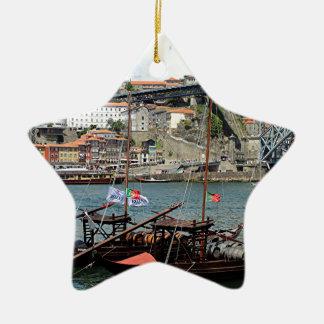Wine barrel boats, Porto, Portugal Ceramic Ornament