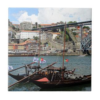 Wine barrel boats, Porto, Portugal Ceramic Tile