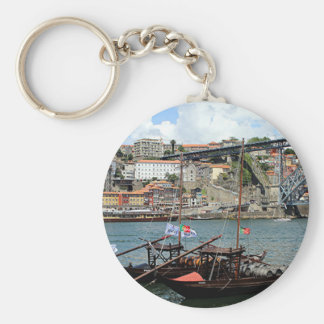 Wine barrel boats, Porto, Portugal Key Ring