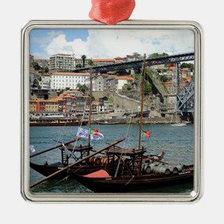 Wine barrel boats, Porto, Portugal Metal Ornament